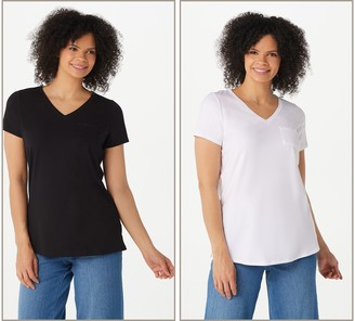 Belle By Kim Gravel TripleLuxe Pima Set of Two V-Neck T-Shirts