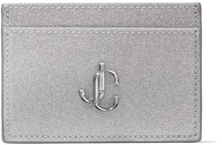 Jimmy Choo UMIKA Silver Fine Glitter Fabric Card Holder