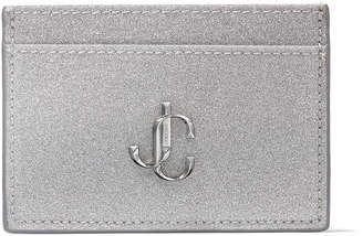 Jimmy Choo UMIKA Silver Fine Glitter Fabric Card Holder