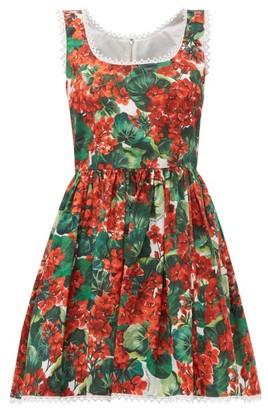 Dolce & Gabbana Geranium-print Cotton Mini Dress - Womens - Red Multi