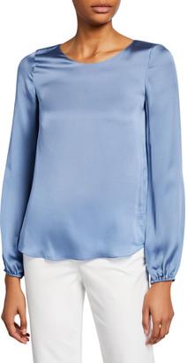 Theory Scoop-Neck Blouson-Sleeve Silk Shirt