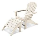 South Beach Polywoodâ Plastic Folding Adirondack Chair with Ottoman POLYWOODA Color: Sand