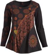 Aller Simplement Brown & Orange Flower & Leaf Scoop Neck Tunic - Plus