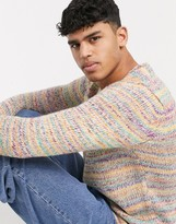 Asos Design DESIGN textured sweater in multi color yarn