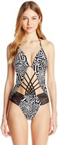 Kenneth Cole New York Women's Got The Beat Push-Up Mio One-Piece Swimsuit