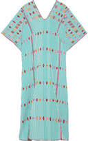 Pippa Holt Embroidered Striped Cotton Kaftan - Green