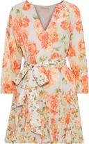 Alice + Olivia Pali Pleated Floral-print Cotton Mini Dress