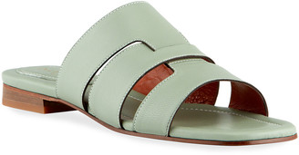 MANU Atelier Woven Leather Flat Sandals, Water Green