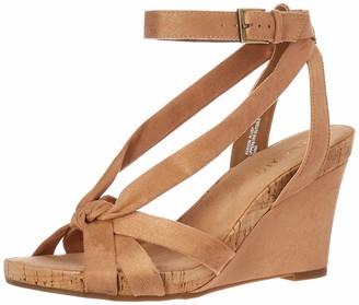 Aerosoles Women's Fashion Plush Wedge Sandal - Open Toe Strap Platform Heel Shoe with Memory Foam Footbed (10M - Tan Fabric)
