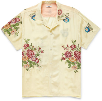 Bode Camp-Collar Embroidered Washed-Satin Shirt