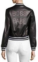 Alice + Olivia Demia Embellished Leather Bomber Jacket