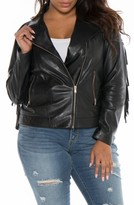 Plus Size Women's Slink Jeans Fringe Leather Jacket