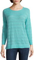 ST. JOHN'S BAY St. John's Bay 3/4-Sleeve Pointelle Sweater - Tall