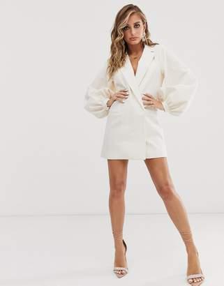 Asos Design DESIGN open back draped blazer-Cream
