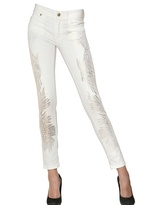 Just Cavalli Gold Print Stretch Cotton Denim Jeans