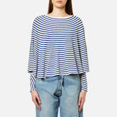 MM6 MAISON MARGIELA Women's Striped Long Sleeve Cape Top Off White/Blue Stripe