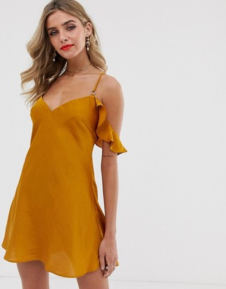 Free People What I Want sateen cold shoulder dress-Gold