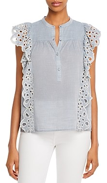 Joie Coralia Cotton Eyelet Trim Short-Sleeve Top