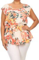 Bubble B Plus Orange Floral Top
