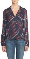 1 STATE Plaid Drape-Front Tunic