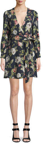 Alice + Olivia Hannah Long-Sleeve Floral Wrap Dress