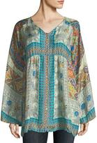 Johnny Was Mocity Button-Front Printed Silk Georgette Tunic, Plus Size