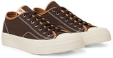 Visvim Skagway Leather-trimmed Cotton-canvas Sneakers - Dark brown
