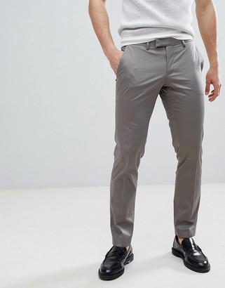 Esprit Slim Fit Smart Trouser In Cotton Sateen-Grey