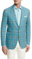 Isaia Plaid Two-Button Wool Jacket, Aqua