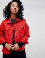 Noisy May Red Denim Jacket With Raw Hem