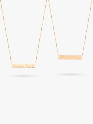 Merci Maman Personalised Hammered Bar Pendant Necklace, Gold