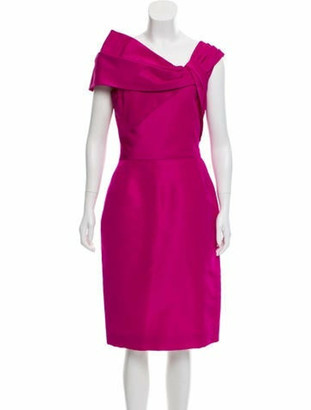 Oscar de la Renta Silk One-Shoulder Dress Fuchsia