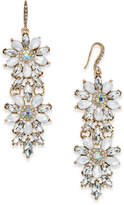 INC International Concepts Gold-Tone Crystal & White Stone Flower Double Drop Earrings, Created for Macy's