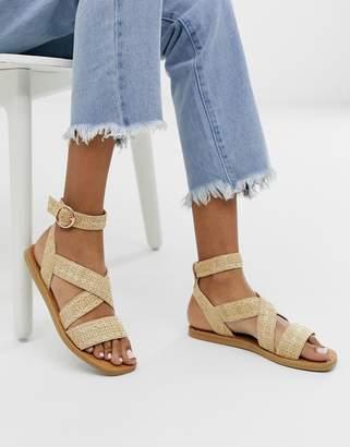 Miss Selfridge cross strap sandals in stone-Beige