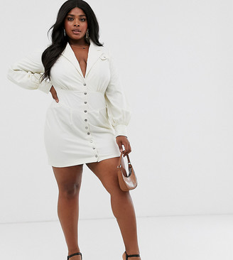 Skylar Rose Plus mini dress with balloon sleeves in faux leather