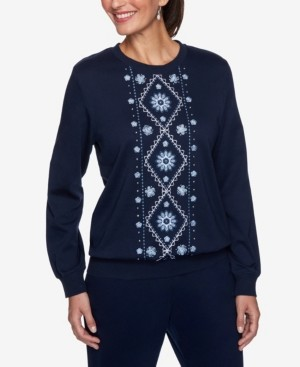 Alfred Dunner Women's Plus Size Relaxed Attitude Banded Bottom Embroidered Top