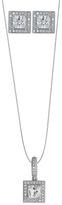 Cubic Zirconia & Sterling Silver Princess-Cut Necklace & Earrings Set