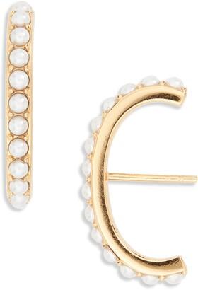 Argentovivo Imitation Pearl Suspender Stud Earrings