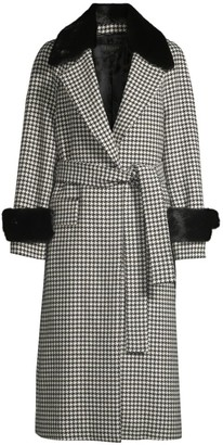 Escada Meton Rabbit Fur-Trim Belted Houndstooth Coat