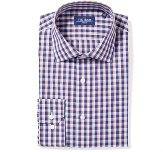 Tie Bar Faded Gingham Navy Non-Iron Dress Shirt