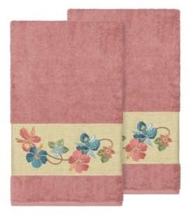 Linum Home Caroline 2-Pc. Embroidered Turkish Cotton Bath Towel Set Bedding