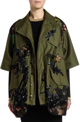 Antonio Marras Floral-Trim Sequined Crop Jacket