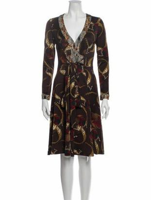 Issa Silk Knee-Length Dress Brown
