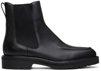 Dries Van Noten Black Pebble Grain Chelsea Boots