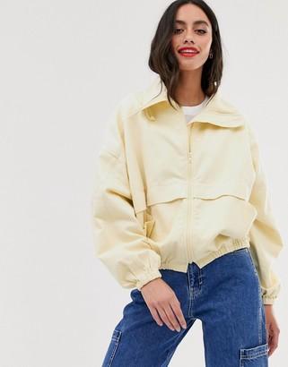 Asos Design DESIGN denim sports jacket in off white-Cream