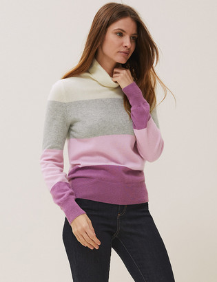 Marks and Spencer Pure Cashmere Striped Roll Neck Jumper