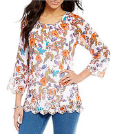 Multiples 3/4 Raglan Sleeve Floral Print Top