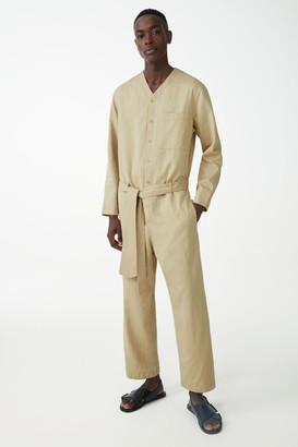 Cos Organic Cotton-Linen Mix V-Neck Belted Boiler Suit