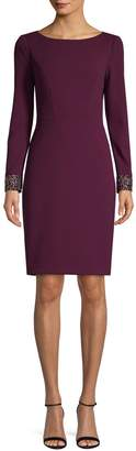 Vince Camuto Embellished-Cuff Sheath Dress