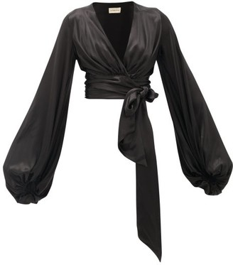 Alexandre Vauthier Balloon-sleeve Silk-blend Satin Wrap Top - Black